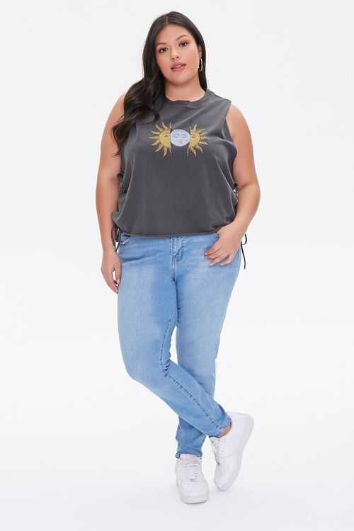 Plus Size Sun & Moon Graphic Muscle Tee, image 4