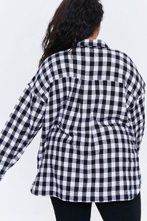 Plus Size Checkered Flap-Pocket Jacket, image 3