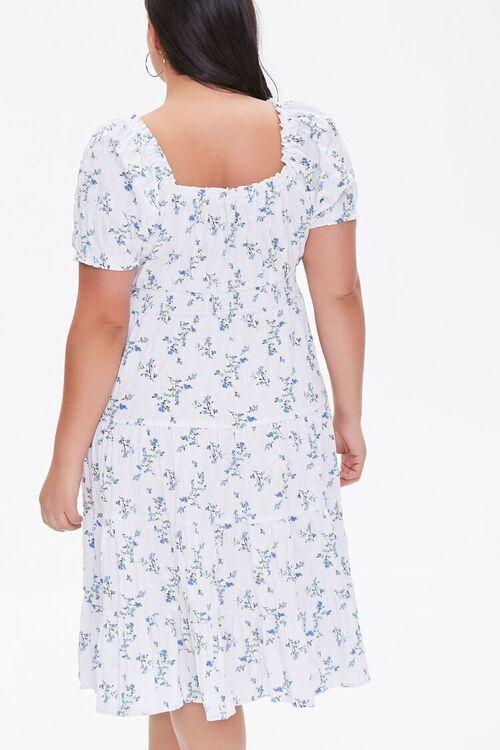 CREAM/BLUE Plus Size Tiered Ruffle-Trim Dress, image 3