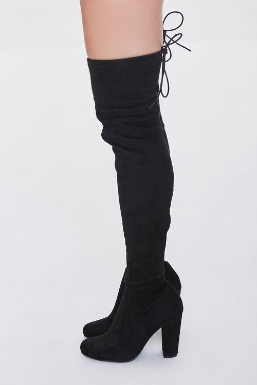 BLACK Faux Suede Over-the-Knee Boots, image 2