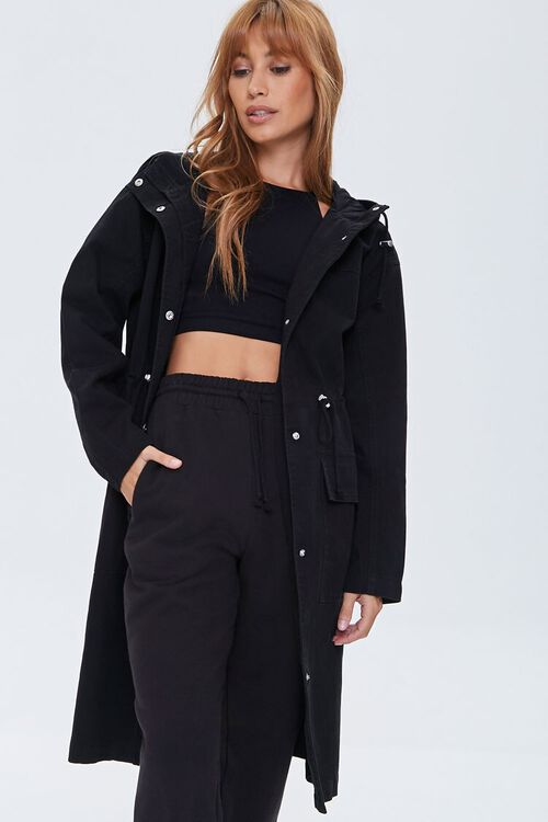 Drawstring Hooded Longline Jacket, image 1