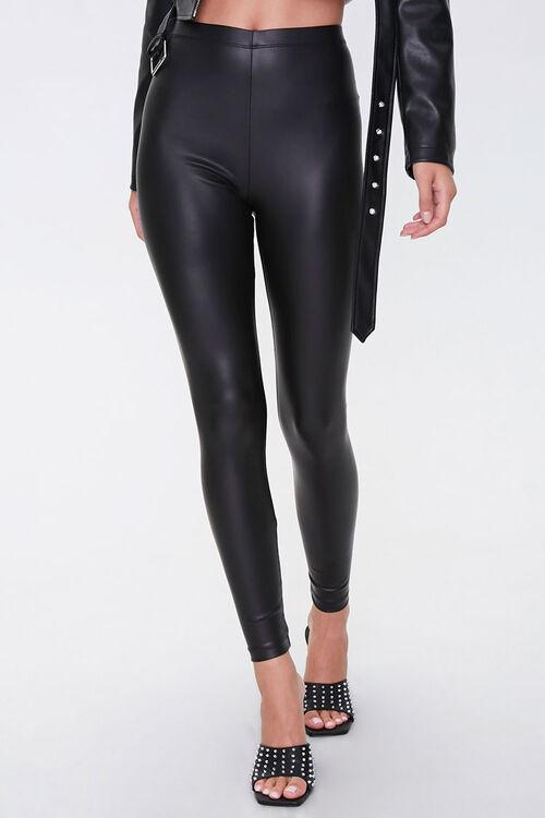 High-Rise Faux Leather Leggings, image 2