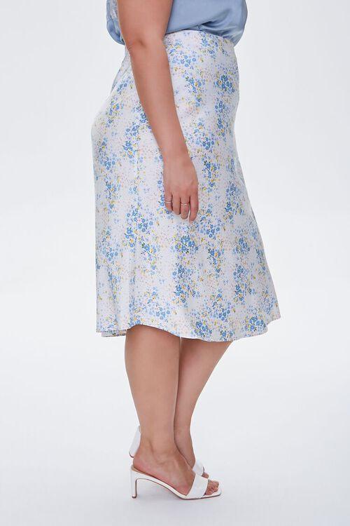 Plus Size Satin Floral Midi Skirt, image 3