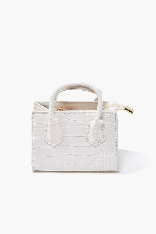 WHITE Faux Croc Leather Crossbody Bag, image 3