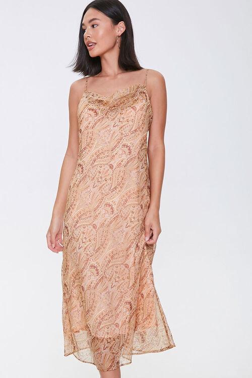 Chiffon Ornate Print Midi Dress, image 1