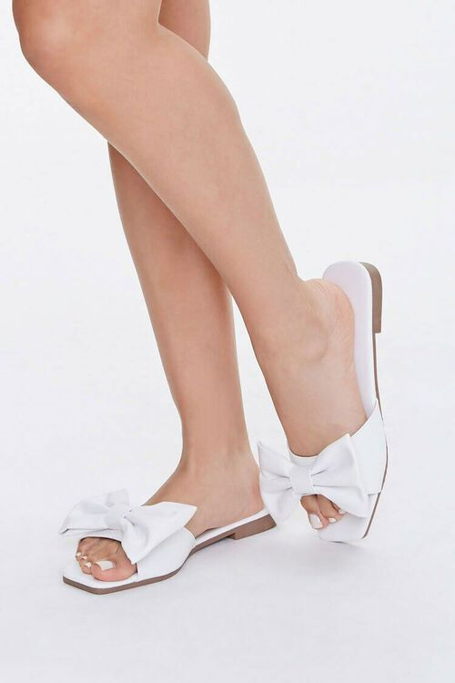 Faux Leather Slip-On Bow Sandals, image 1