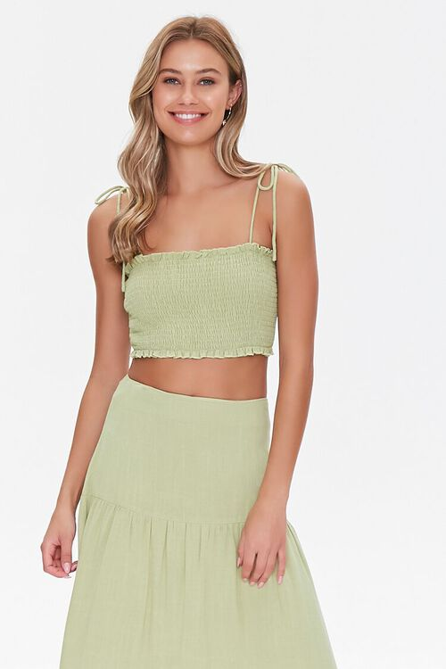 Smocked Cropped Cami & Tiered Skirt Set, image 4