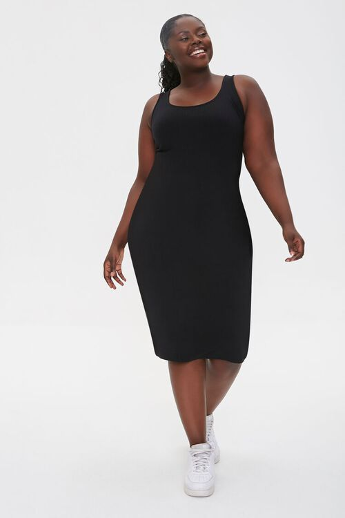 BLACK Plus Size Ribbed Tank Dress, image 2