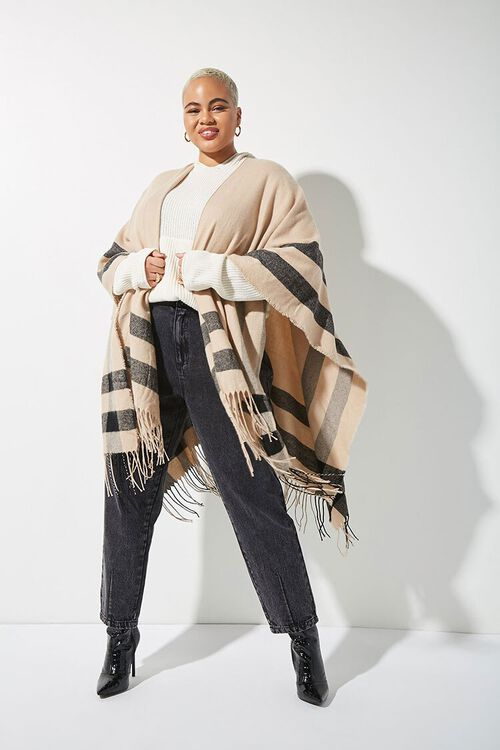 Plus Size Striped Fringe Poncho, image 1