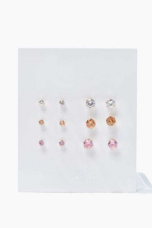 GOLD Faux Gem Stud Earring Set, image 1