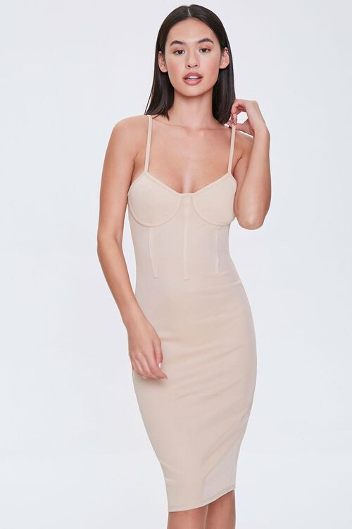 TAUPE Bustier Bodycon Mini Dress, image 1