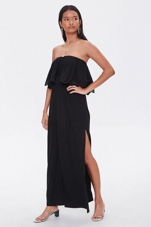 Strapless Crochet-Trim Maxi Dress, image 4