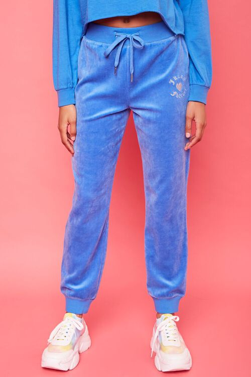 BLUE/SILVER Rhinestone Juicy Couture Velour Joggers, image 2