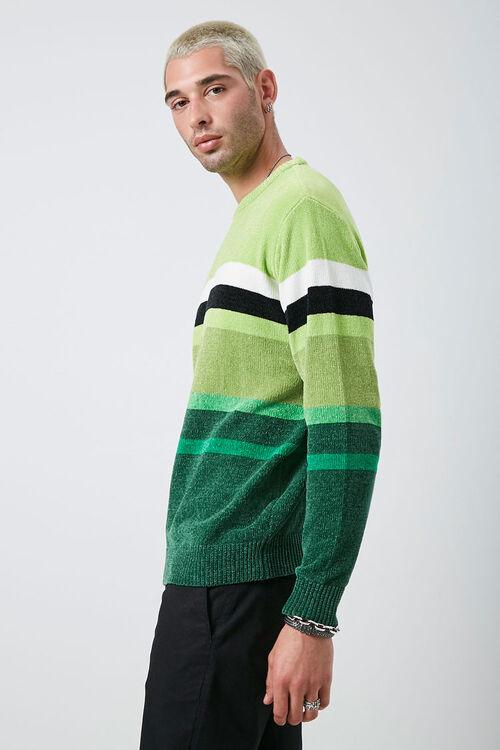 Chenille Striped Crew Neck Sweater, image 2
