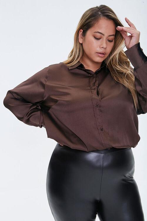 Plus Size Satin Shirt, image 1