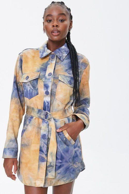 MUSTARD/BLUE Tie-Dye Shirt Jacket, image 1