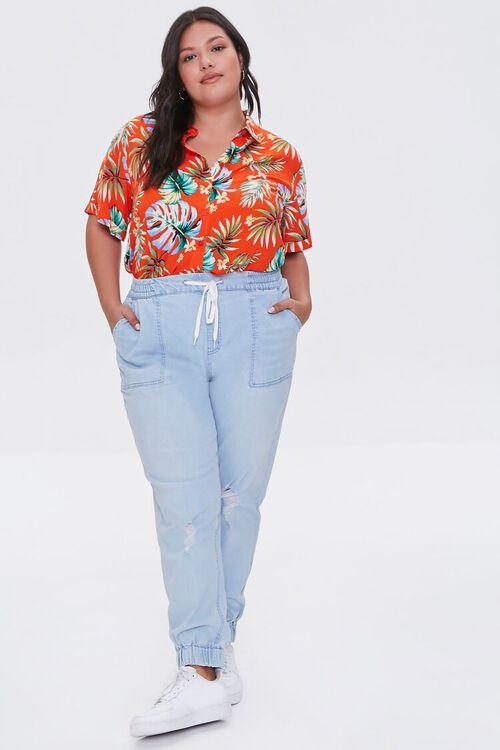 Plus Size Tropical Leaf Print Shirt, image 4