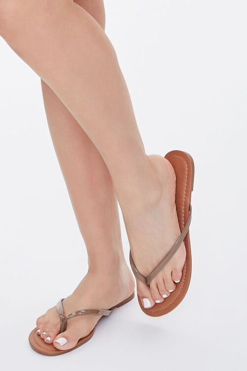 Faux Patent Leather Thong Sandals, image 2