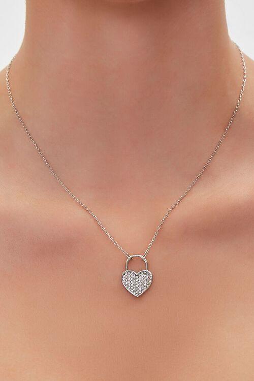 Rhinestone Heart Charm Necklace, image 1