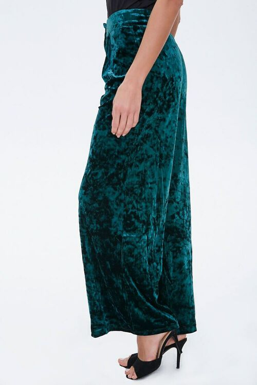 HUNTER GREEN Crushed Velvet High-Rise Flare Pants, image 3