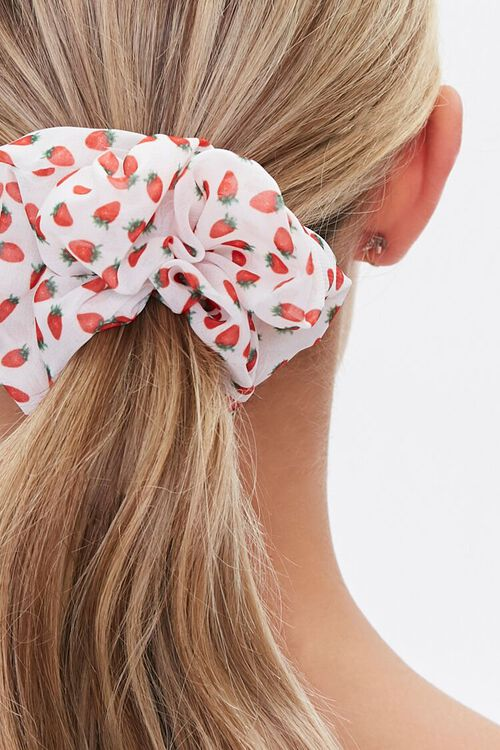 WHITE/RED Strawberry Print Scrunchie, image 2