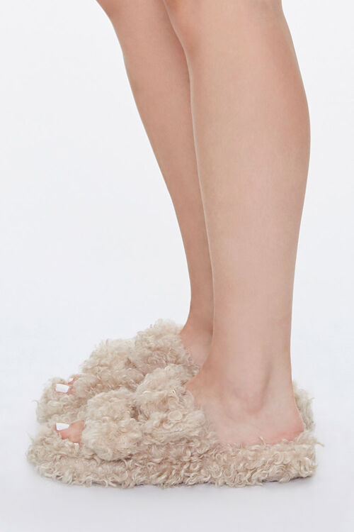 Faux Sheepskin Buckled Slippers, image 2