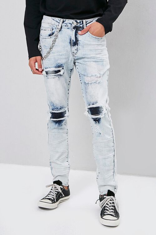 Distressed Bleach Wash Skinny Jeans, image 2