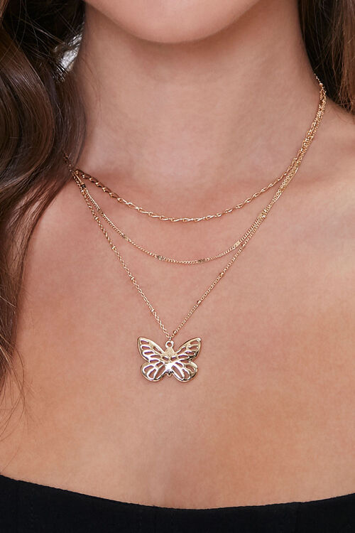 Butterfly Pendant Layered Necklace, image 1