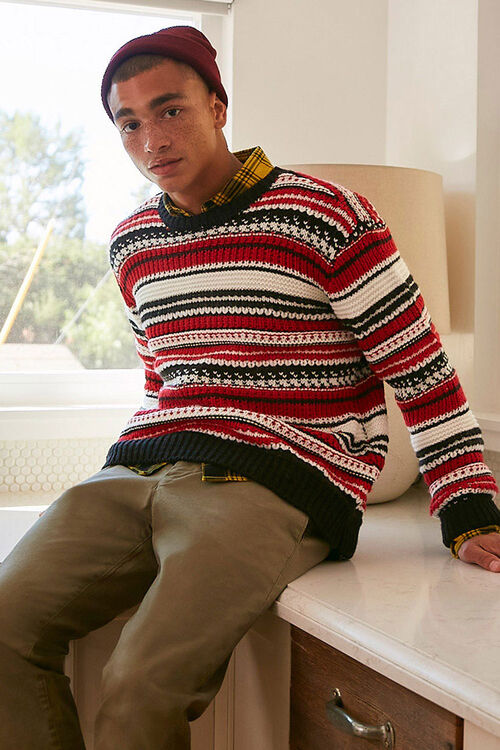 Striped Knit Crew Neck Sweater, image 1
