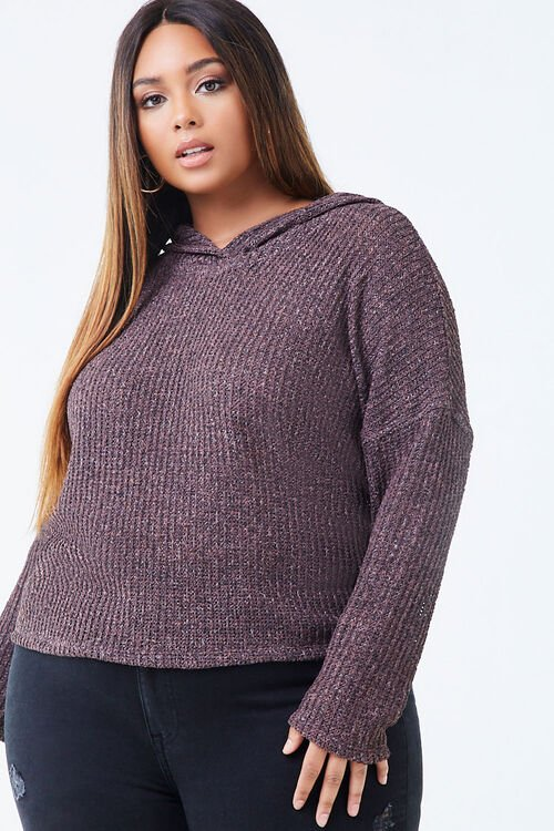 Plus Size Hooded Marled Top, image 1