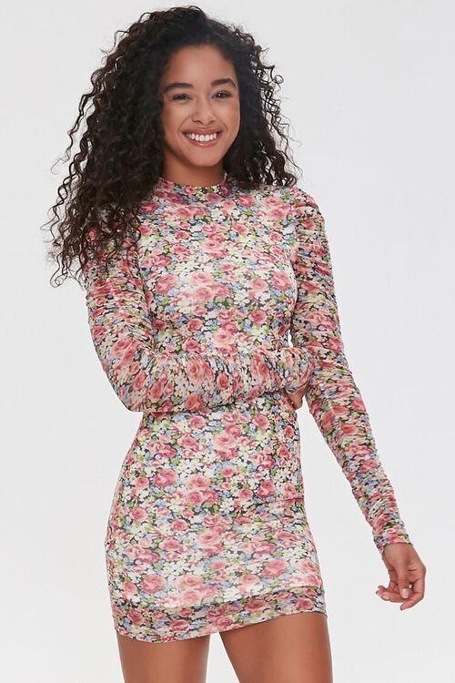 PINK/MULTI Floral Bodycon Mini Dress, image 1