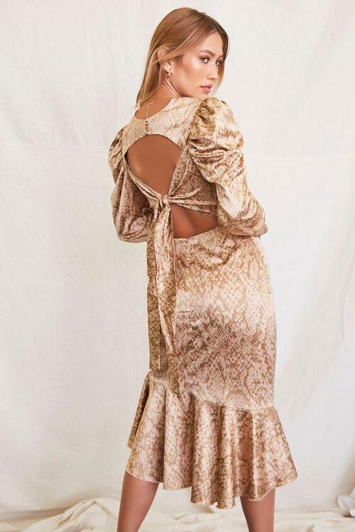 TAUPE/BROWN Satin Snake Print Dress, image 3