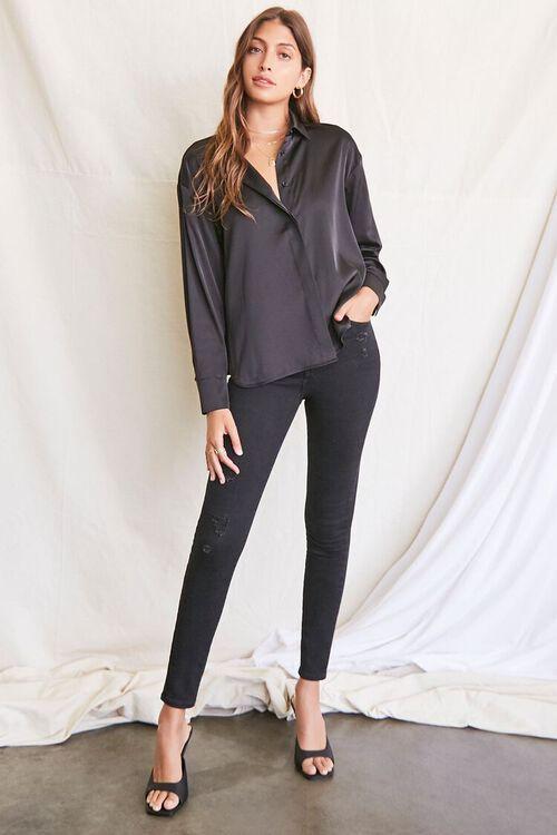 BLACK Satin Dolphin-Hem Shirt, image 4