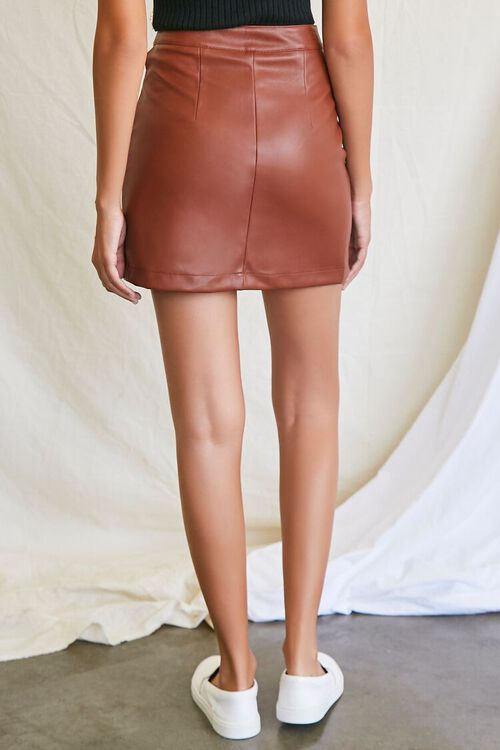 CHOCOLATE Faux Leather Cutout Mini Skirt, image 4