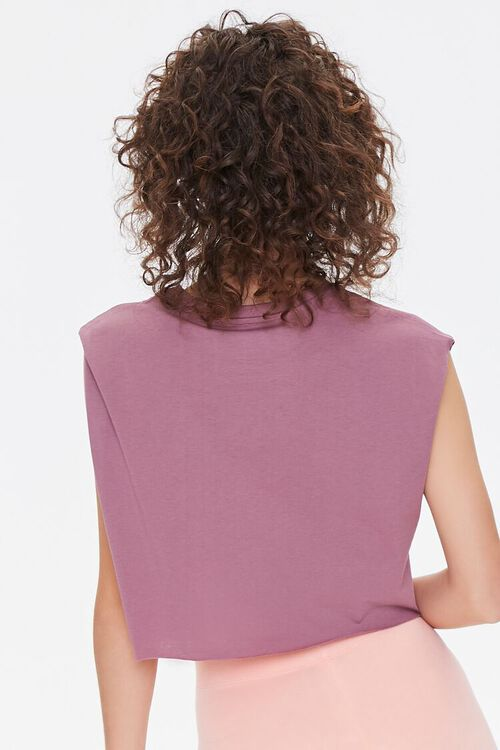 MAUVE/MULTI AC/DC Graphic Cropped Muscle Tee, image 3