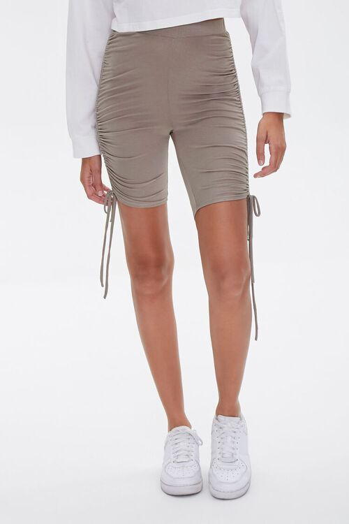 Ruched Drawstring Biker Shorts, image 2