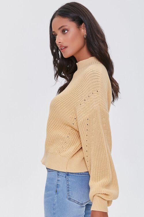 YELLOW Mock Neck Ribbed Sweater, image 2