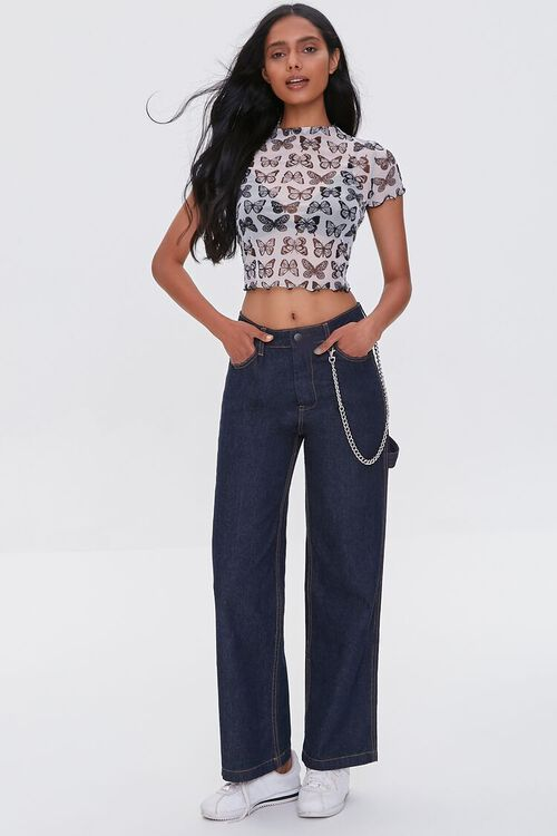 Butterfly Print Mesh Top, image 4