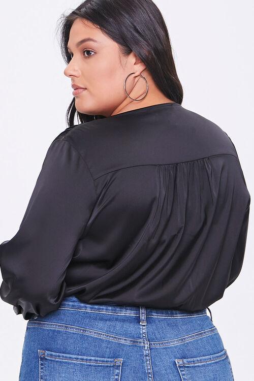 Plus Size Shirred Surplice Bodysuit, image 3