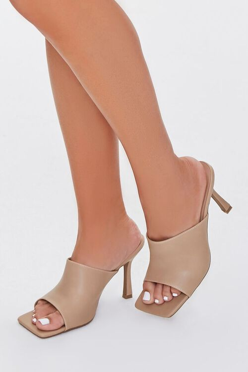 Faux Leather Square-Toe Heels, image 5