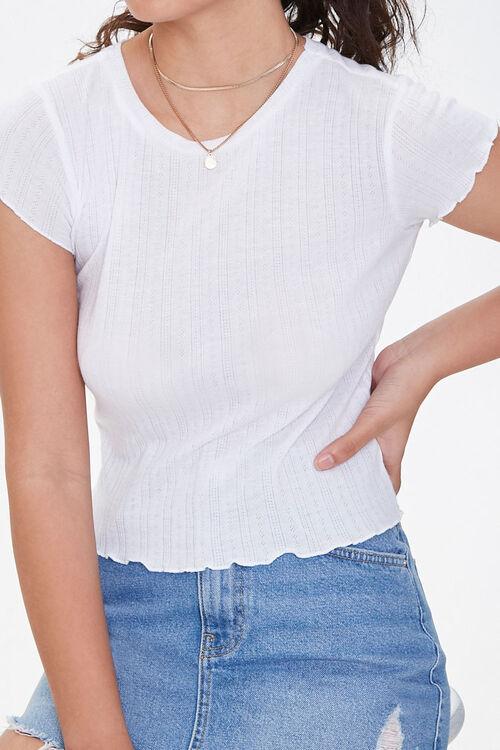 WHITE Lettuce-Edge Pointelle Knit Tee, image 1
