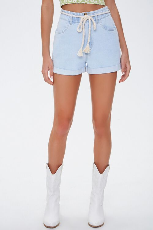 Rope Belt High-Rise Denim Shorts, image 2