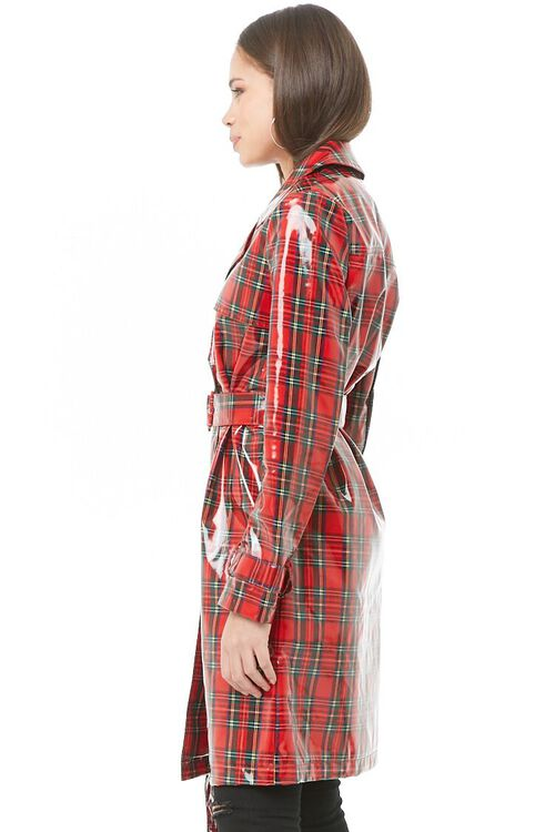 Plaid Print Trench Coat, image 2