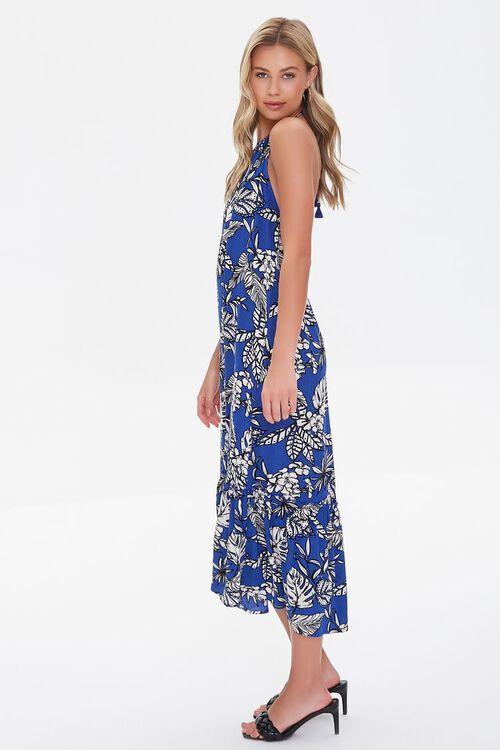BLUE/CREAM Tropical Leaf Print Halter Dress, image 2