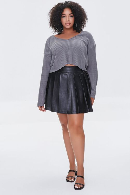 BLACK Plus Size Faux Leather Pleated Skirt, image 5