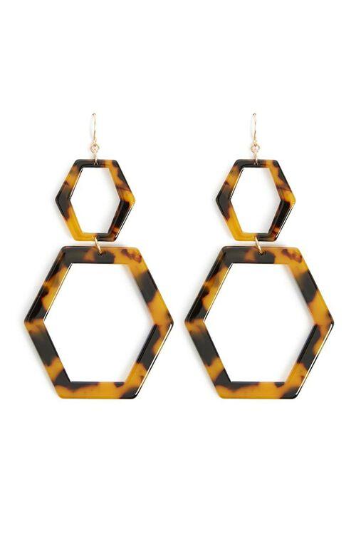 Tortoiseshell Hexagon Earrings, image 1
