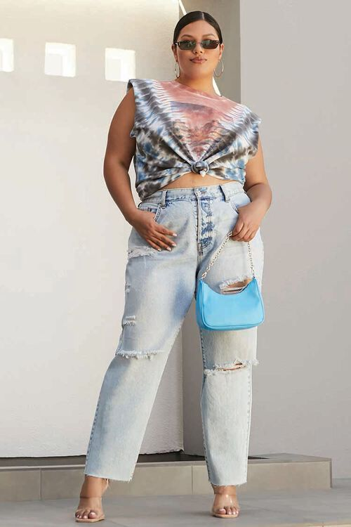 Plus Size Distressed High-Rise Jeans, image 1