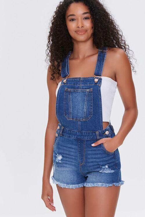 Frayed Denim Overall Shorts, image 1