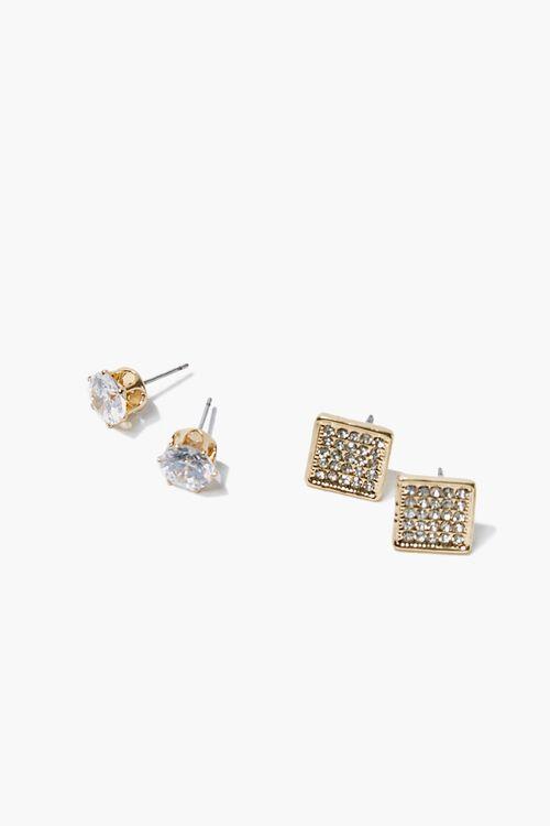Rhinestone Faux Gem Stud Earring Set, image 1