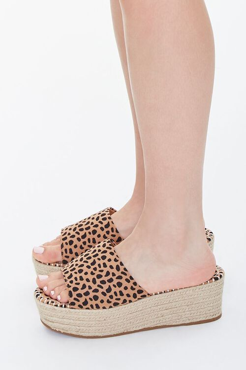 BLACK/BROWN Cheetah Print Espadrille Platform Sandals, image 2
